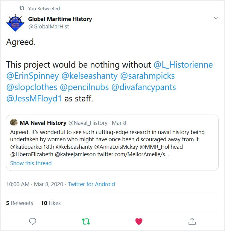 Dr. Sam McLean for Global Maritime History on Twitter gave Global Maritime Hisotry's female historians props.
